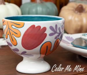 Elk Grove Floral Pedestal Bowl