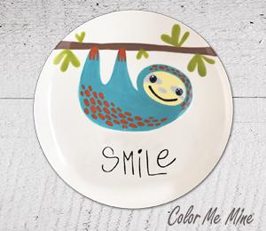 Elk Grove Sloth Smile Plate